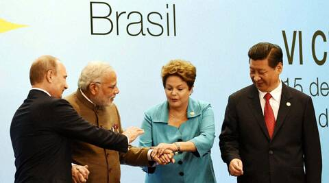 BRICS leaders during the official photo session of 6th BRICS summit at Fortaleza in Brazil. (PTI)