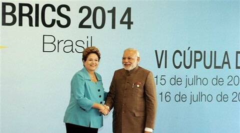 PM Narendra Modi with Brazilian President Dilma Rousseff and Russian President Vladimir Putin in Fortaleza on Tuesday.