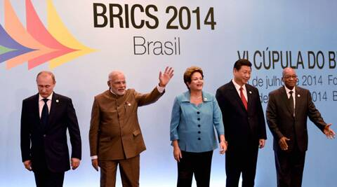 Prime Minister Narendra Modi with Chinese President, Xi Jinping, Russian President, Vladimir Putin, Brazil's President, Dilma Rousseff and South African President, Jacob Zuma during 6th BRICS summit. (PTI)
