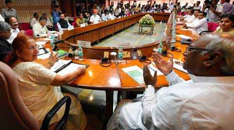Lok Sabha Speaker Sumitra Mahajan along with leader of Congress in Lok Sabha, Mallikarjun Kharge and other political parties during all party meeting in New Delhi. (Source: PTI)