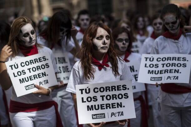 Spain's Pampalona bullfighting protest