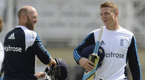 Jos Buttler at a training session with outgoing keeper Matt Prior. (Source: Reuters)