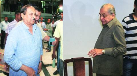 Subrata Mukherjee and Jagmohan Dalmiya after the CAB meeting in Kolkata on Sunday. (Source: Express photo by Partha Paul)