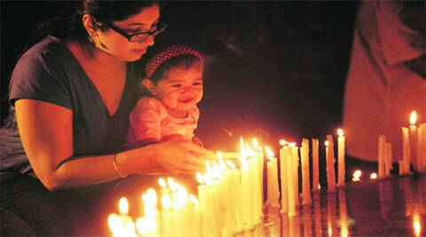 Residents of the TrIcity light candles on Saturday to remember martyrs. (Express photo by Jasbir Malhi)