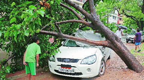 The damaged car on Wednesday. (Source: Express photo by Kshitij Mohan)