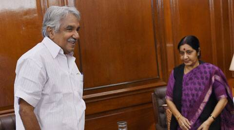 External Affairs Minister Sushma Swaraj with Chief Minister of Kerala, Oommen Chandy during a meeting in New Delhi. (Source: PTI)