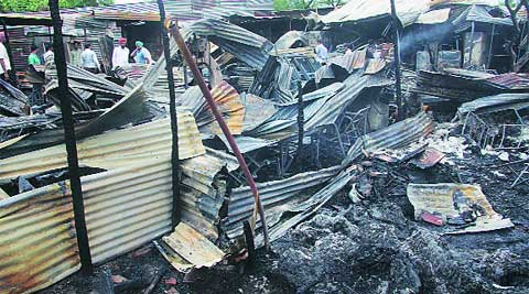 Shops gutted in the furniture market in Chandigarh on Saturday. (Jasbir Malhi)
