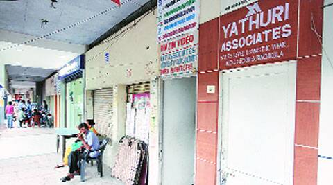 A locked office of Yathuri Associates at Swastik Vihar in MDC, Sector 5, Panchkula, on Tuesday. (Jaipal Singh)