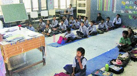 A classroom without benches at Government School in Phase 3B2, Mohali. (Express Archives)