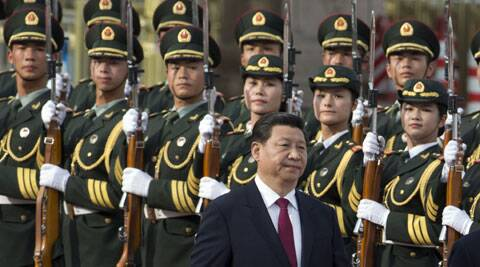 Chinese President Xi Jinping walks near a guard of honor at a welcome ceremony for Myanmar President Thein Sein in Beijing, China. (Source: AP)