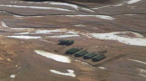 A file photo of tents erected by intruding Chinese troops inside Indian territory in Ladakh. (Source: PTI)