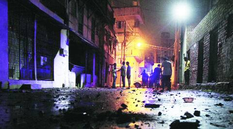 A road in Chhipawad locality of Vadodara after the clash on Friday night. Bhupendra Rana