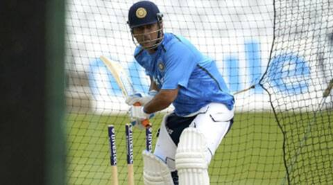 MS Dhoni during a training session at Trent Bridge. The first Test starts on July 9. (Source: Reuters)