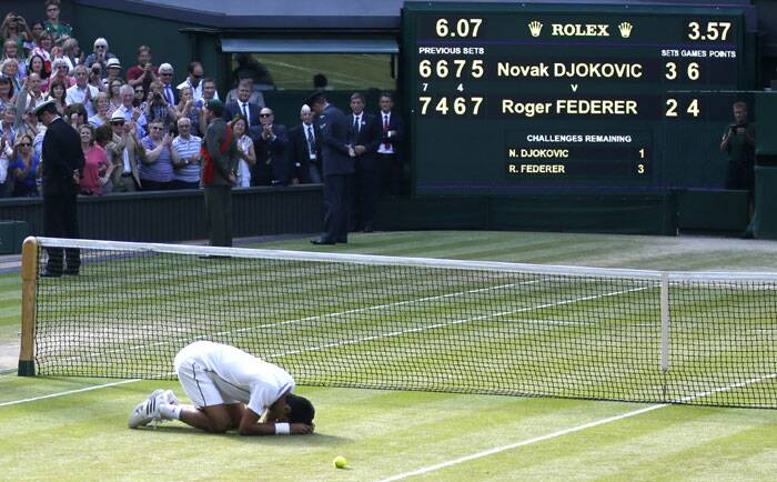 Emotions ran high as Djokovic was on his knees moments after sealing the championship point. A not-so-impressive season finally had something to show off as the Djoker was now Wimbledon champion, for the second time (Source: AP)