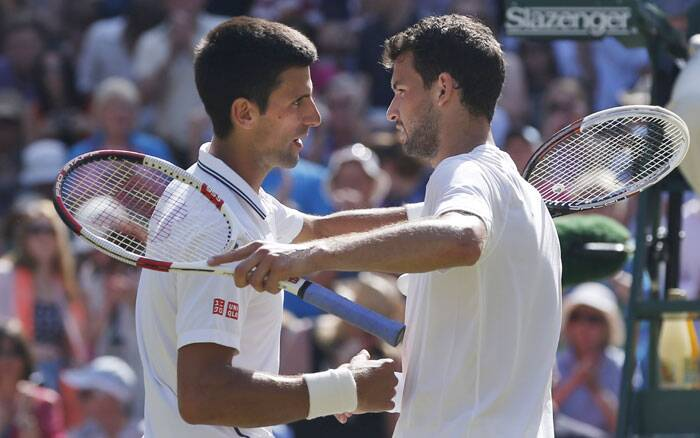 Though Novak Djokovic (L) was the winner at the end but Grigor Dimitrov (R) looked on course to book a ticket to the final. Djokovic and Dimitrov after their semi-final match which Djokovic won after struggle. (Source: AP)