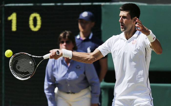 In the first semi-final of the day, Novak Djokovic was up against Bulgarian Grigor Dimitrov. Djokovic took the first set 6-4. (Source: AP)