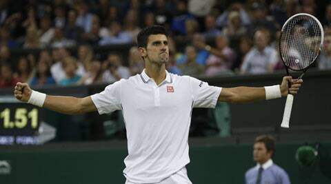 Djokovic celebrates after defeating France's Jo-Wilfried Tsonga on Monday. (Source: AP)