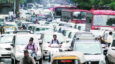 Traffic jam near Deccan bus stop on Monday. ( Source: Express photo by: Sandeep Daundkar )