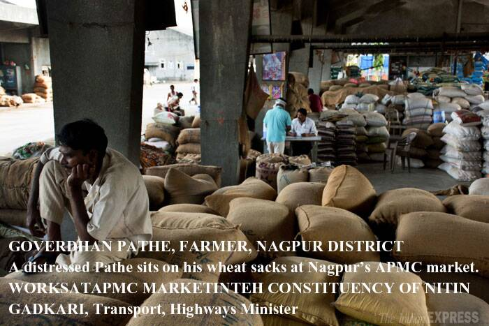 "Rs 2,000/qt WHAT PATHE SAYS HE NEEDS TO BREAK EVEN: He has been selling in distress at Rs 1,500 a quintal in Nagpur. GOVERDHAN PATHE from Bichhwa village near Nagpur has brought eight quintals of last year's wheat to Nagpur's Agriculture Produce Marketing Committee for ""distress sale"". He had stocked since December hoping for higher prices, but now needs the money for the kharif season. PATHE'S WISH is better prices. Among his other expectations are more easily available and cheaper irrigation, electricity and diesel. (Reporting by VIVEK DESHPANDE, Express photo by Sanjib Ganguly)"