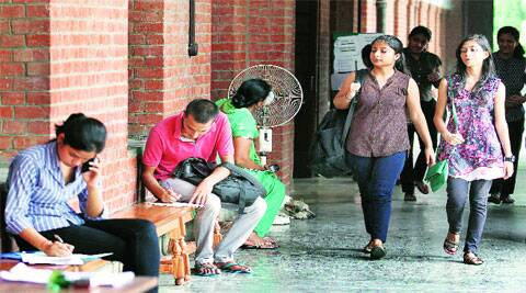 Students at St Stephen's College on Monday. (Source: Express photo by Ravi Kanojia)