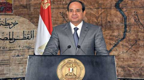 Egyptian president Abdel Fatah al-Sisi delivering a speech in Cairo this month. (Source: Reuters)