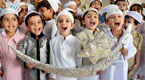 Children take part in Eid celebrations at a school in Patna. (Source: PTI)
