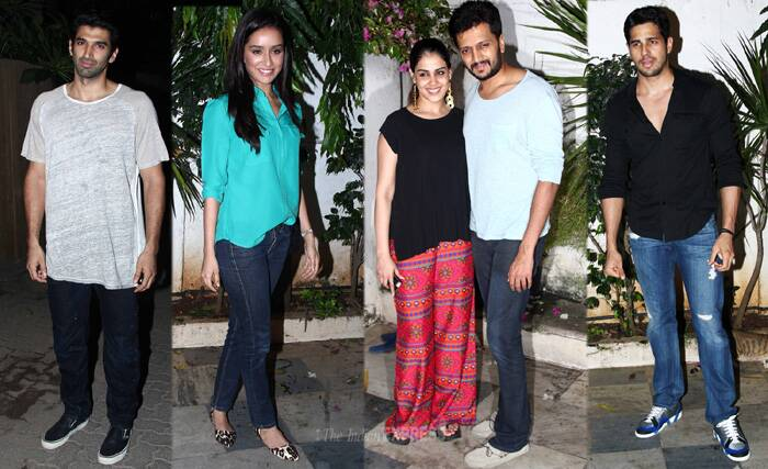 Bollywood actor Riteish Deshmukh, Sidharth Malhotra, Shraddha Kapoor gathered at their co-star Shaad Randhawa's Mumbai residence to celebrate the success of the film on Saturday (July 5). (Source: Varinder Chawla)