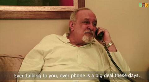 This elderly man's fake call to a non-existent friend has a message for the society