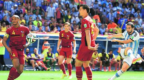 Gonzalo Higuain, out of sorts in the World Cup, found his feet against Belgium when he scored in the eighth minute of the quarterfinals in Brasilia. (Reuters)