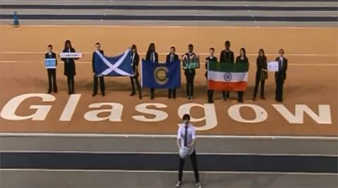 The screenshot of the video from the official song of the Glasgow Commonwealth games which depicts