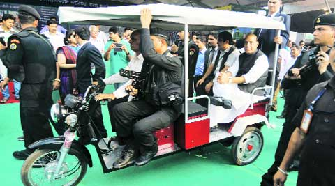 Gadkari, Rajnath in an e-rickshaw in Nagpur. File photo