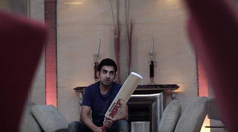 Gautam Gambhir at his residence before leaving for England. (Source: Express Photo by Praveen Khanna)