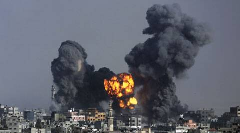 Smoke and fire from the explosion of an Israeli strike rise over Gaza City. (Source: AP)