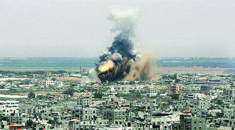 An Israeli missile explodes in Rafah, southern Gaza Strip. (Reuters)