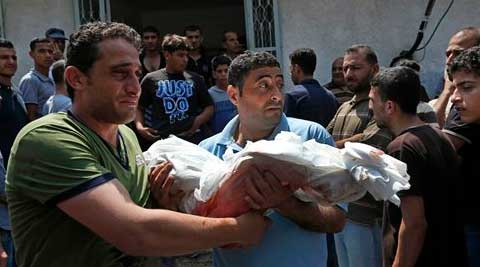 An Israeli air strike on a home in the centre of Gaza City killed eight people, including four children. (Source: AP)