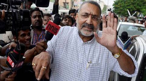 Giriraj Singh tried to avoid questions from media on Saturday. (Source: PTI photo)