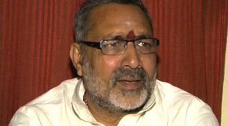 After racist comment, Cong workers shout slogans outside Giriraj Singh's residence