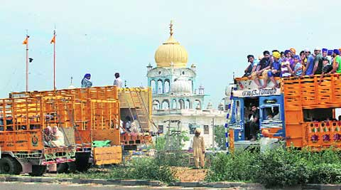 Sikhs from Punjab at the Manji Sahib Gurdwara in Ambala.