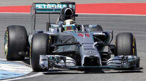 Hamilton completed his best lap on the Hockenheimring in 1 minute, 18.341 seconds, edging Rosberg by 0.024 seconds. (Source: AP)