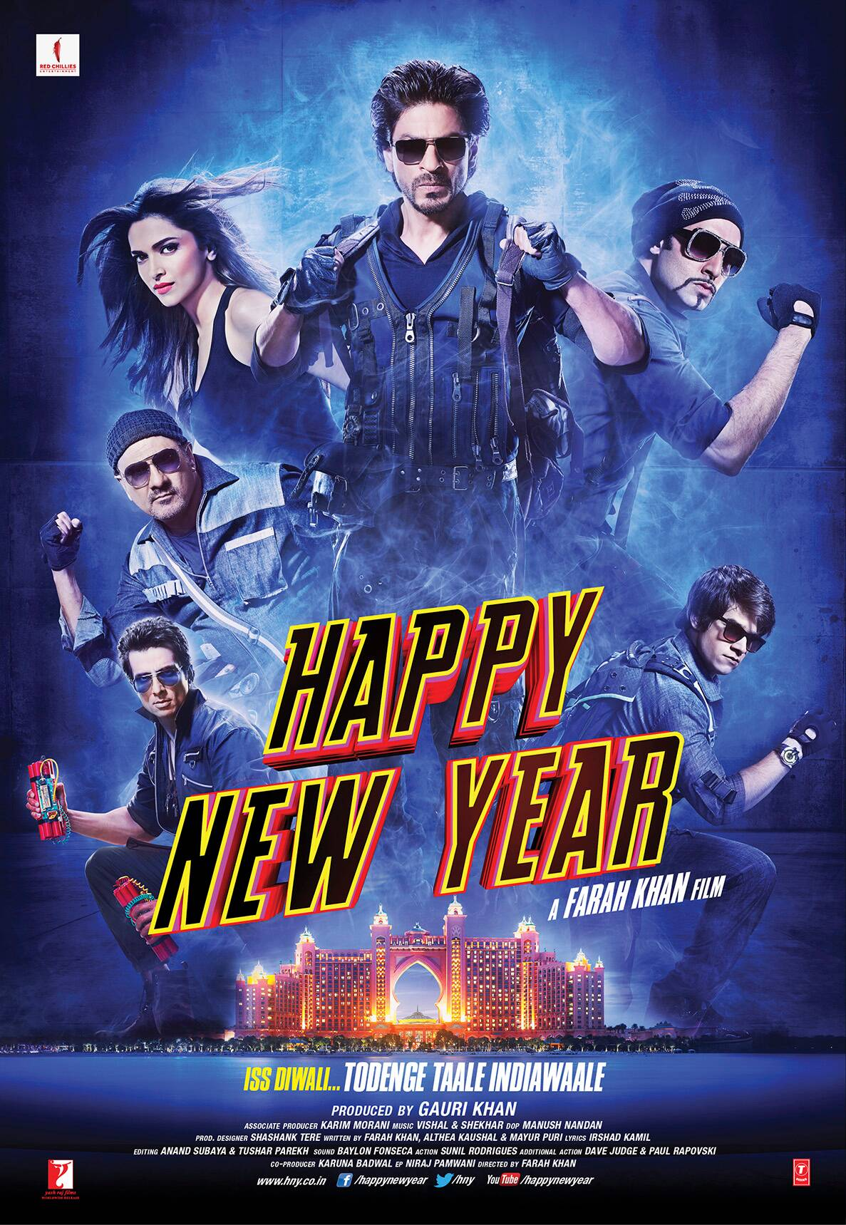 The film, which has been in the news for months now,  has succeeded in creating quite a buzz even before the trailer launch. The second poster of 'Happy New Year' shows the cast  - Shah Rukh Khan, Abhishek Bachchan, Sonu Sood, Boman Irani and Vivaan Shah dressed in dark colours as they seem set for some kind of heist.