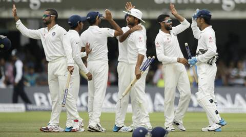 Jubilant Indian players after winning the Lord's test. (Source: AP)