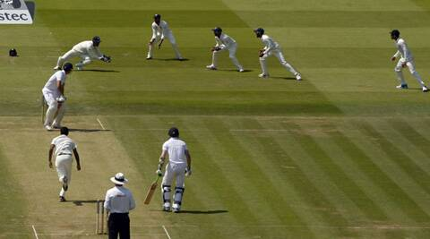 England's Alastair Cook is caught by India's Mahendra Singh Dhoni for ten runs during the second cricket test match at Lord's on day 2 of the second Test. (Source: Reuters)
