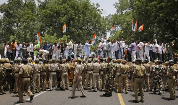 Today in pics: Congress stages protest against price hike in Delhi