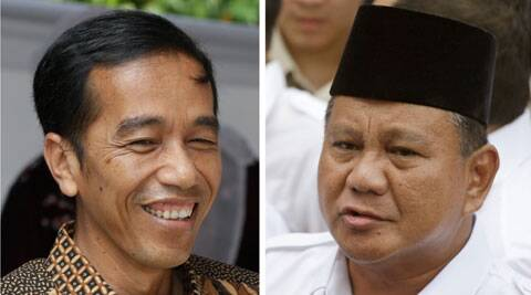 Indonesian presidential candidates, Jakarta Governor Joko Widodo and former special forces commander Prabowo Subianto after they cast their votes in Jakarta, Indonesia. (Source: PTI)