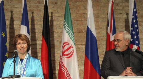 European foreign policy chief Catherine Ashton, left, Iranian Foreign Minister Mohammad Javad Zarif, right, address the media after closed-door nuclear talks in Vienna. (Source: AP)
