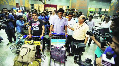 The rescued Indians at IGI Airport in New Delhi on Saturday. (PRAVEEN KHANNA)