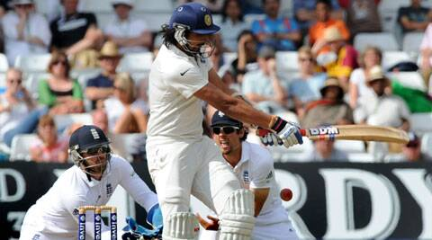 Ishant  Sharma tries to play one to fine leg. The bowlers struggled to get wickets on the slow low track at Trent Bridge. (Source: AP)