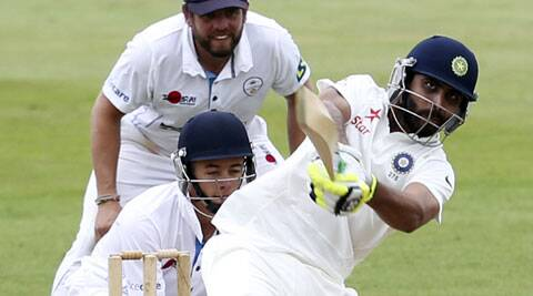 Jadeja scored 45 runs, facing 67 balls, hitting 7 fours and a six, before becoming spinner David Wainwright's second victim of the day. (Source: AP)