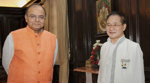 Union Minister of Finance and Defence, Arun Jaitley at a meeting with Chief Minister of Arunachal Pradesh, Nabam Tuki in New Delhi. (Source: PTI)