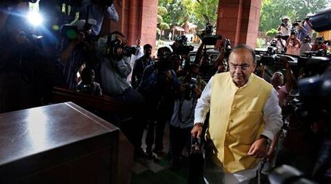 Arun Jaitley arriving at the Parliament to present the Budget 2014-15. (AP)